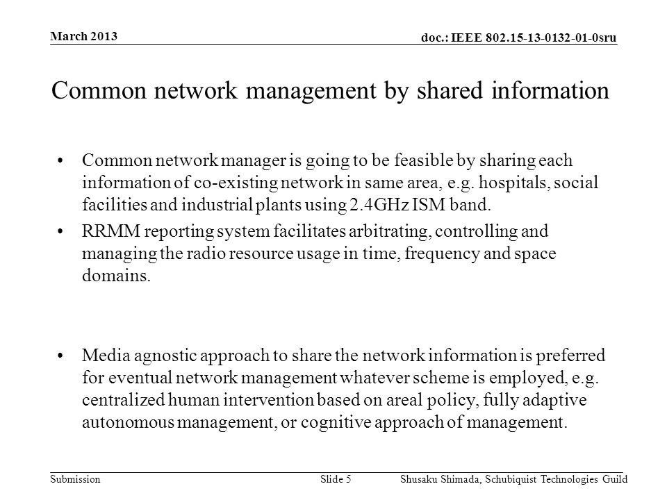 doc.: IEEE 802.15-13-0132-01-0sru Submission March 2013 Shusaku Shimada, Schubiquist Technologies GuildSlide 5 Common network management by shared inf