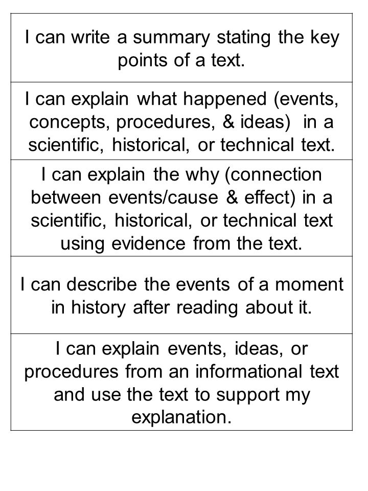 I can write a summary stating the key points of a text. I can explain what happened (events, concepts, procedures, & ideas) in a scientific, historica