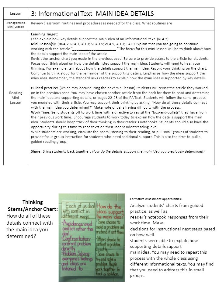 Lesson 3: Informational Text MAIN IDEA DETAILS Management Mini-Lesson Review classroom routines and procedures as needed for the class. What routines
