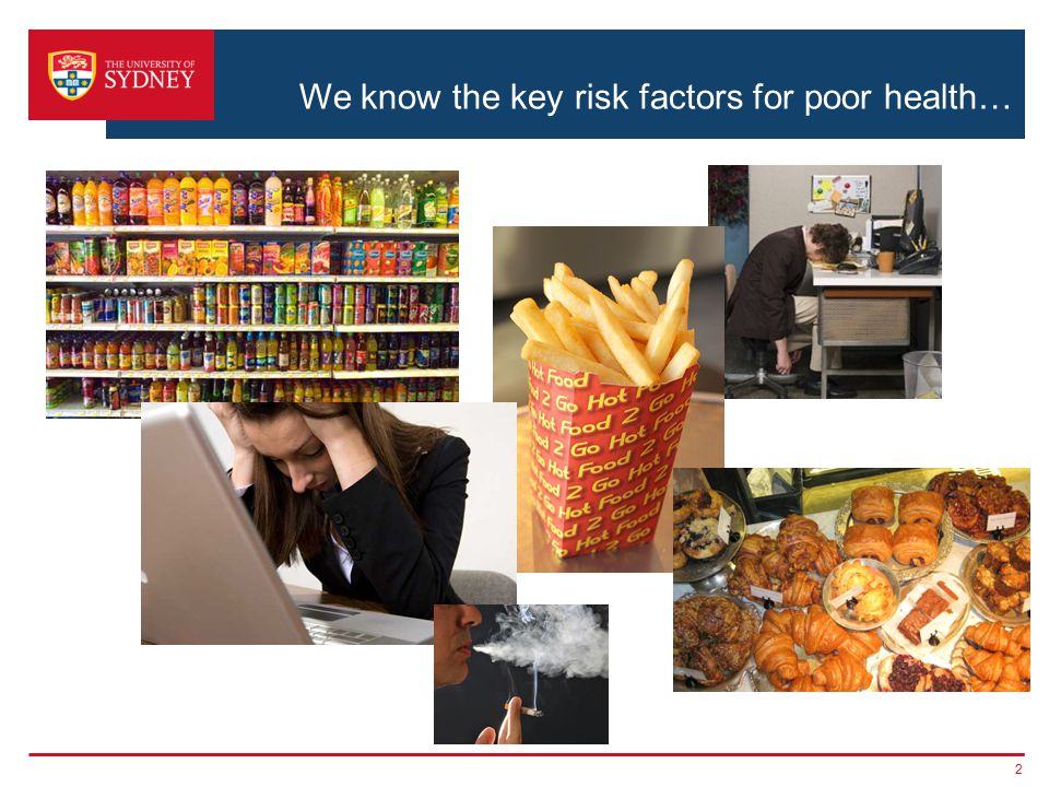 We know the key risk factors for poor health… 2