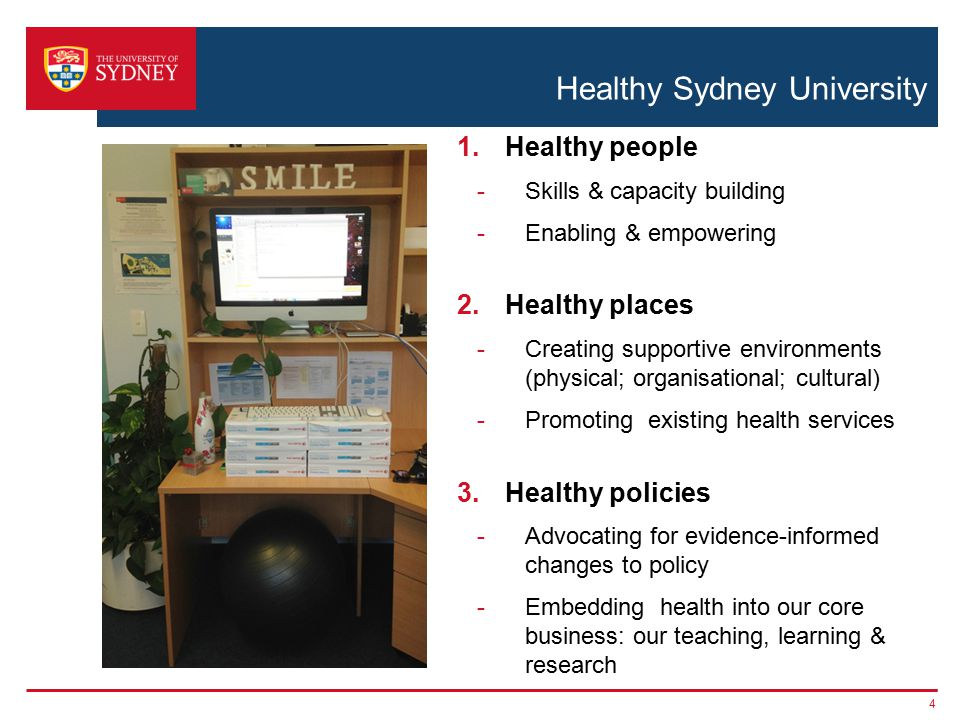 Healthy Sydney University 1.Healthy people -Skills & capacity building -Enabling & empowering 2.Healthy places -Creating supportive environments (physical; organisational; cultural) -Promoting existing health services 3.Healthy policies -Advocating for evidence-informed changes to policy -Embedding health into our core business: our teaching, learning & research 4