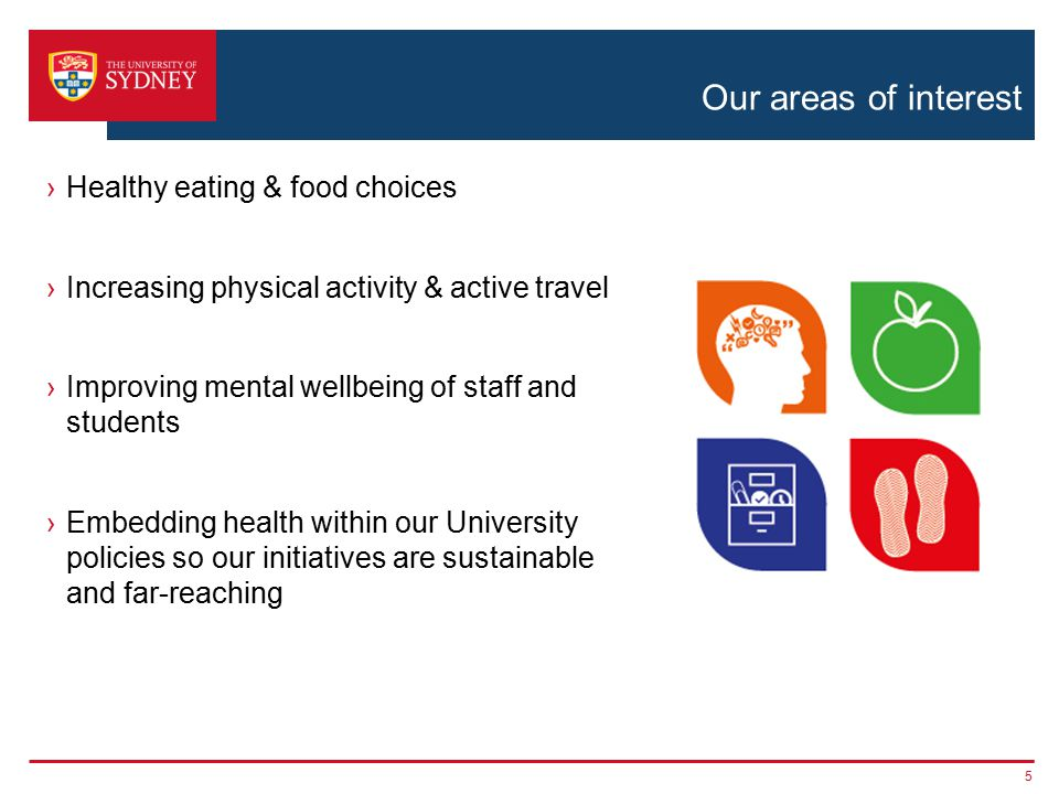 Our areas of interest ›Healthy eating & food choices ›Increasing physical activity & active travel ›Improving mental wellbeing of staff and students ›Embedding health within our University policies so our initiatives are sustainable and far-reaching 5