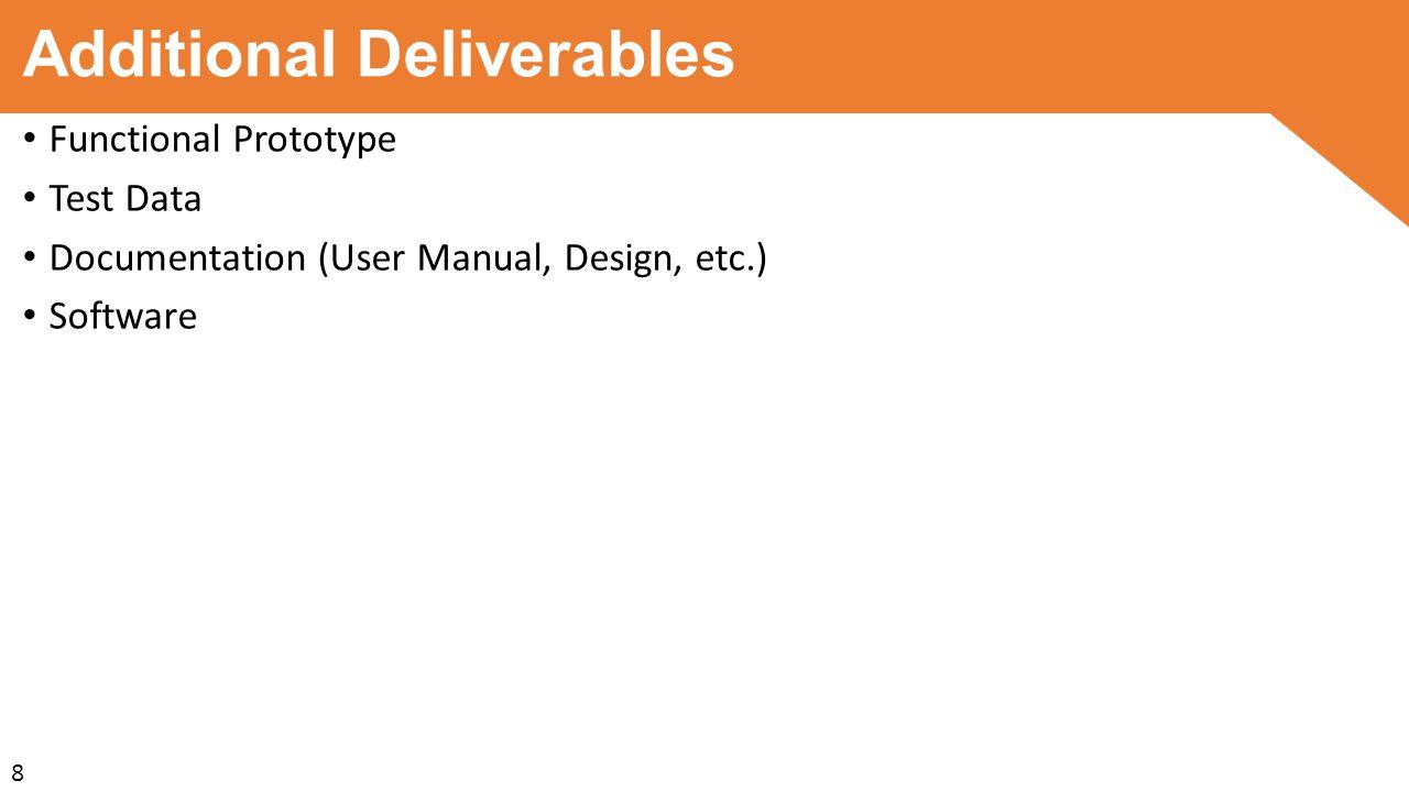 Additional Deliverables Functional Prototype Test Data Documentation (User Manual, Design, etc.) Software 8