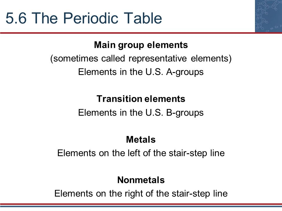 5.6 The Periodic Table Main group elements (sometimes called representative elements) Elements in the U.S. A-groups Transition elements Elements in th