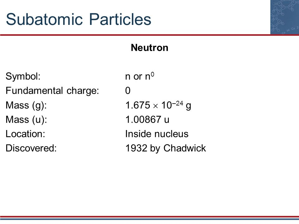 Subatomic Particles Neutron Symbol:n or n 0 Fundamental charge:0 Mass (g):1.675  10 –24 g Mass (u):1.00867 u Location:Inside nucleus Discovered:1932