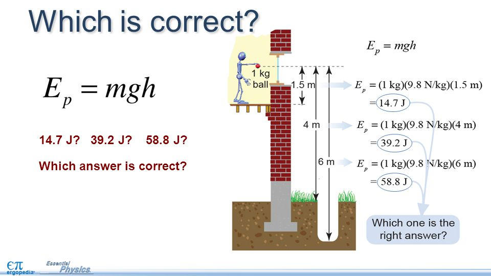 14.7 J 39.2 J 58.8 J Which answer is correct Which is correct