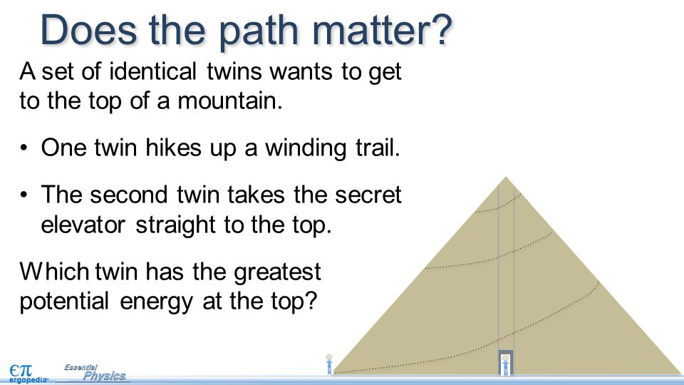 Does the path matter? A set of identical twins wants to get to the top of a mountain. One twin hikes up a winding trail. The second twin takes the sec