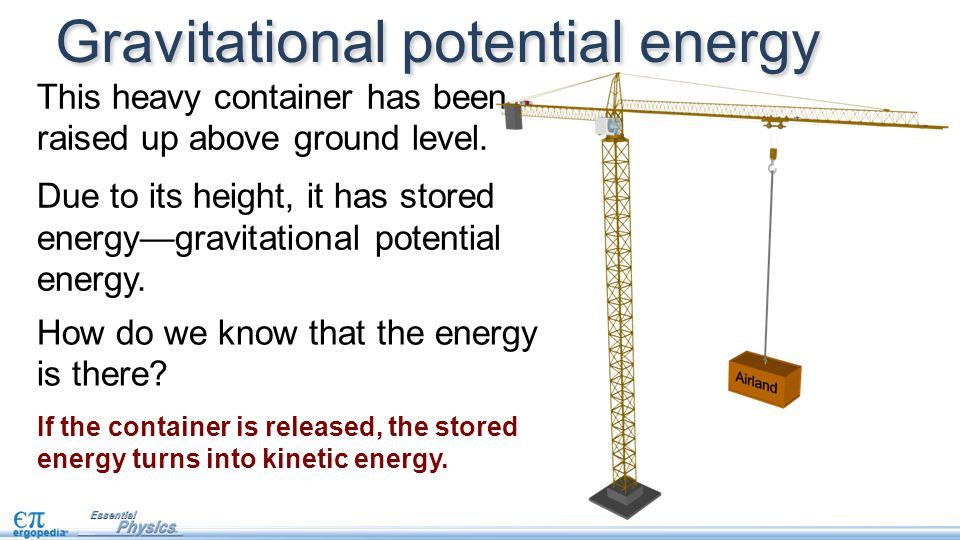 Gravitational potential energy This heavy container has been raised up above ground level. Due to its height, it has stored energy—gravitational poten