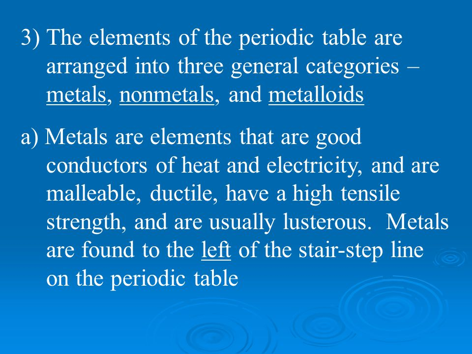 a) Metals are elements that are good conductors of heat and electricity, and are malleable, ductile, have a high tensile strength, and are usually lus