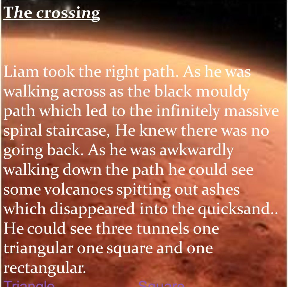 The crossing Liam took the right path. As he was walking across as the black mouldy path which led to the infinitely massive spiral staircase, He knew