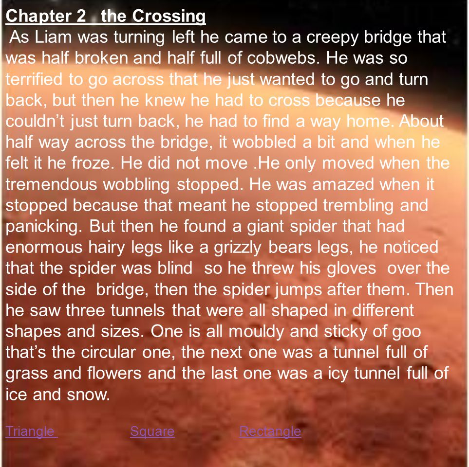 Chapter 2 the Crossing As Liam was turning left he came to a creepy bridge that was half broken and half full of cobwebs.