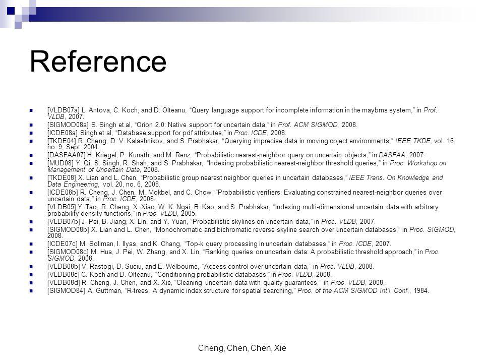 Cheng, Chen, Chen, Xie Reference [VLDB07a] L. Antova, C.