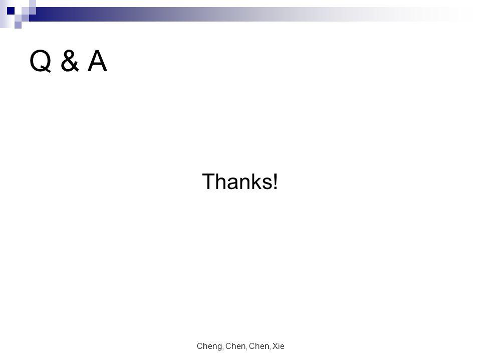Cheng, Chen, Chen, Xie Q & A Thanks!