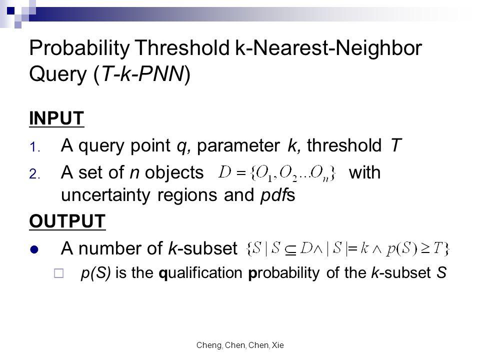 Cheng, Chen, Chen, Xie Probability Threshold k-Nearest-Neighbor Query (T-k-PNN) INPUT 1.