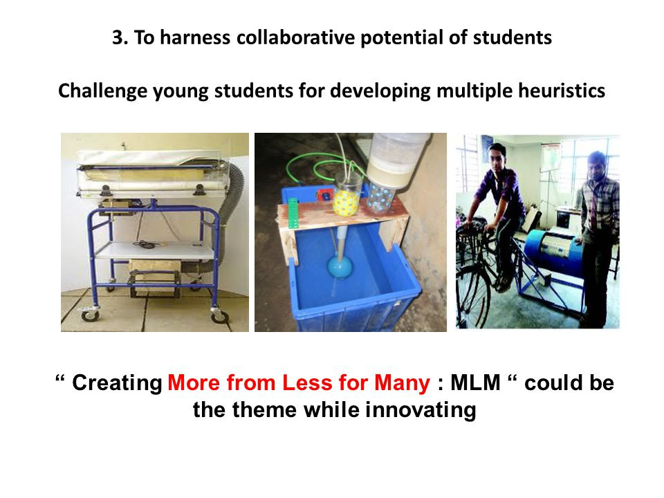 "3. To harness collaborative potential of students Challenge young students for developing multiple heuristics "" Creating More from Less for Many : MLM"