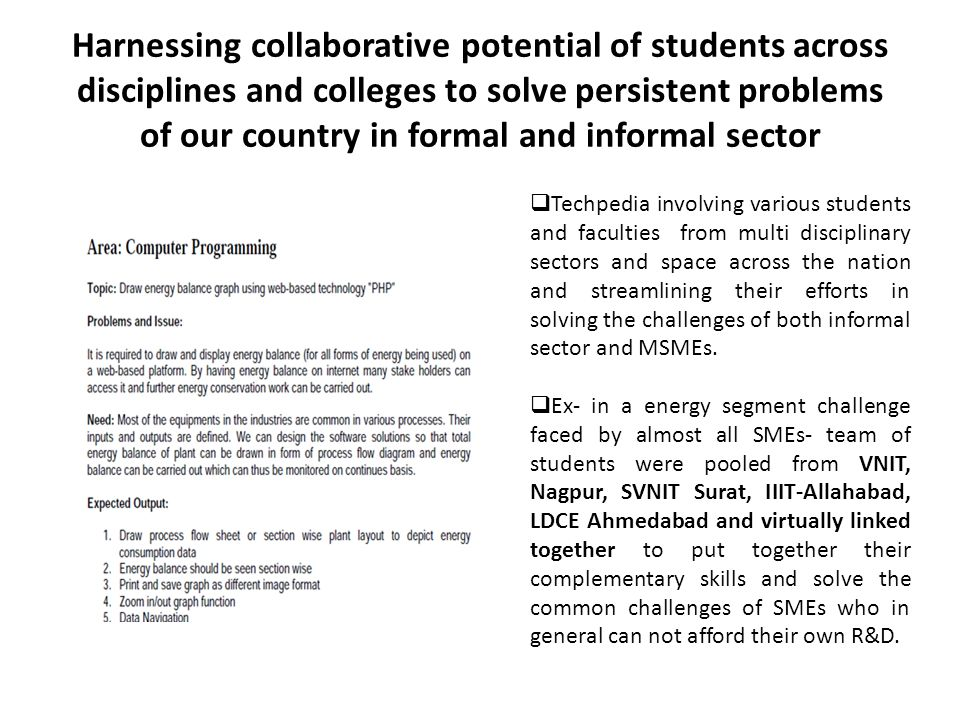 Harnessing collaborative potential of students across disciplines and colleges to solve persistent problems of our country in formal and informal sect