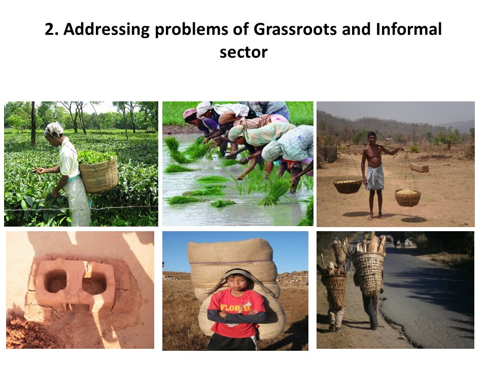 2. Addressing problems of Grassroots and Informal sector