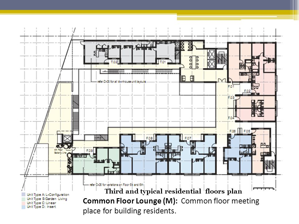 Common Floor Lounge (M): Common floor meeting place for building residents.