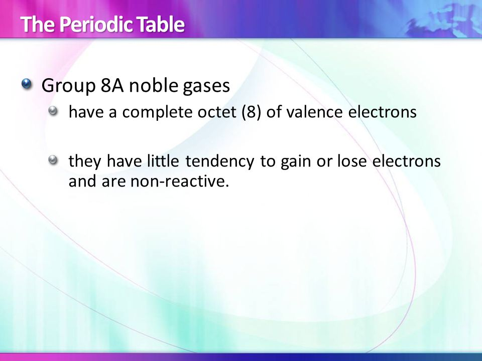 The Periodic Table Group 8A noble gases have a complete octet (8) of valence electrons they have little tendency to gain or lose electrons and are non