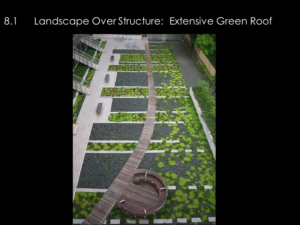 8.1Landscape Over Structure: Extensive Green Roof