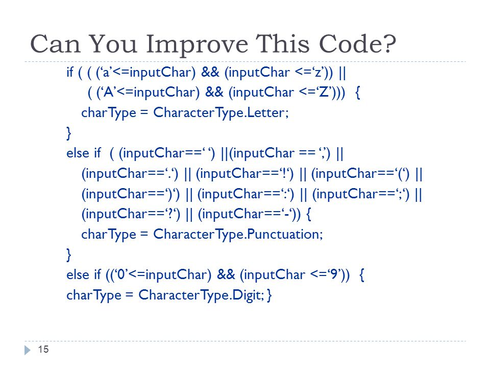 Can You Improve This Code.
