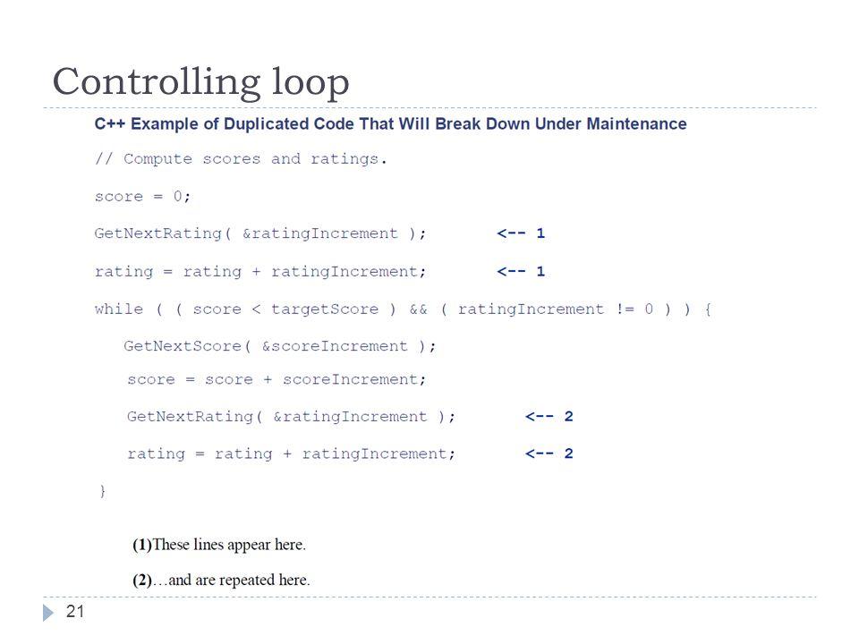 Controlling loop 21