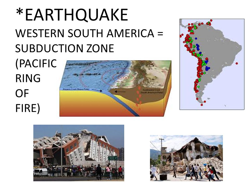 *EARTHQUAKE WESTERN SOUTH AMERICA = SUBDUCTION ZONE (PACIFIC RING OF FIRE)