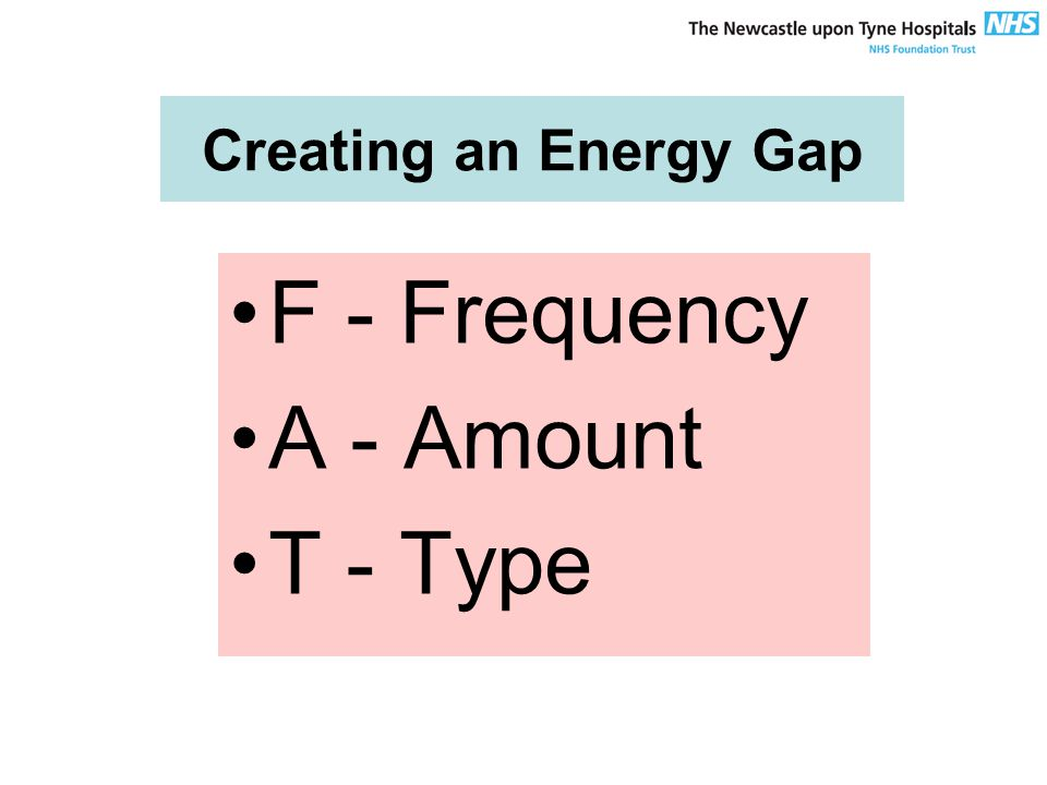 Creating an Energy Gap F - Frequency A - Amount T - Type
