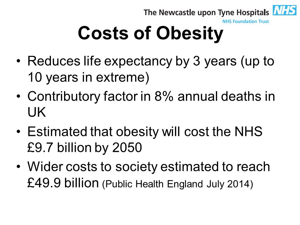 Costs of Obesity Reduces life expectancy by 3 years (up to 10 years in extreme) Contributory factor in 8% annual deaths in UK Estimated that obesity will cost the NHS £9.7 billion by 2050 Wider costs to society estimated to reach £49.9 billion (Public Health England July 2014)