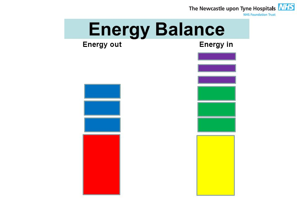 Energy Balance Energy out Energy in