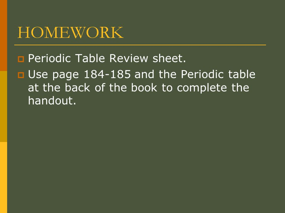 HOMEWORK  Periodic Table Review sheet.