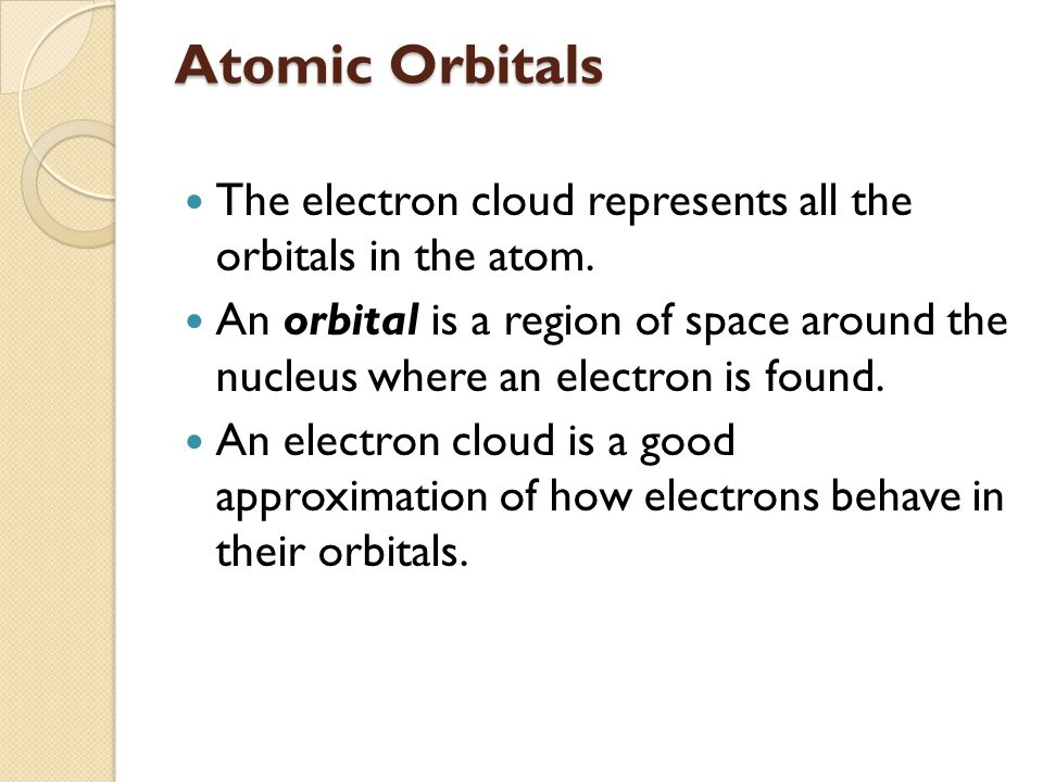 Atomic Orbitals The electron cloud represents all the orbitals in the atom.