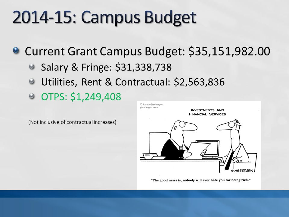 Current Grant Campus Budget: $35,151,982.00 Salary & Fringe: $31,338,738 Utilities, Rent & Contractual: $2,563,836 OTPS: $1,249,408 (Not inclusive of contractual increases)