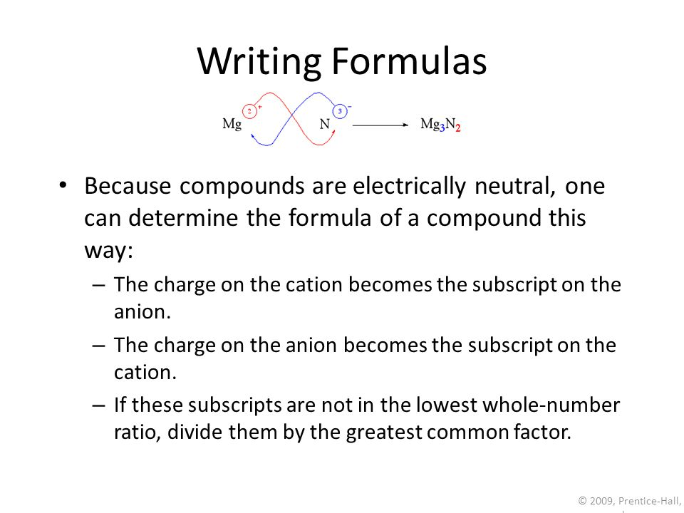 © 2009, Prentice-Hall, Inc. Writing Formulas Because compounds are electrically neutral, one can determine the formula of a compound this way: – The c