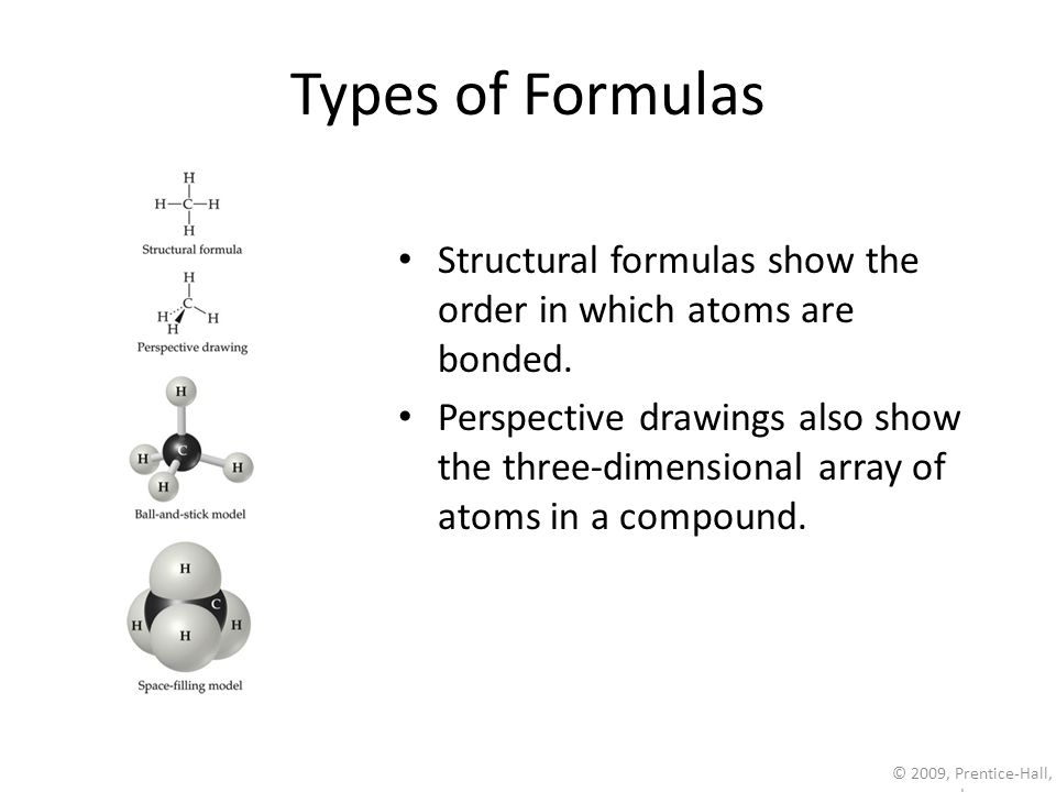 © 2009, Prentice-Hall, Inc. Types of Formulas Structural formulas show the order in which atoms are bonded. Perspective drawings also show the three-d