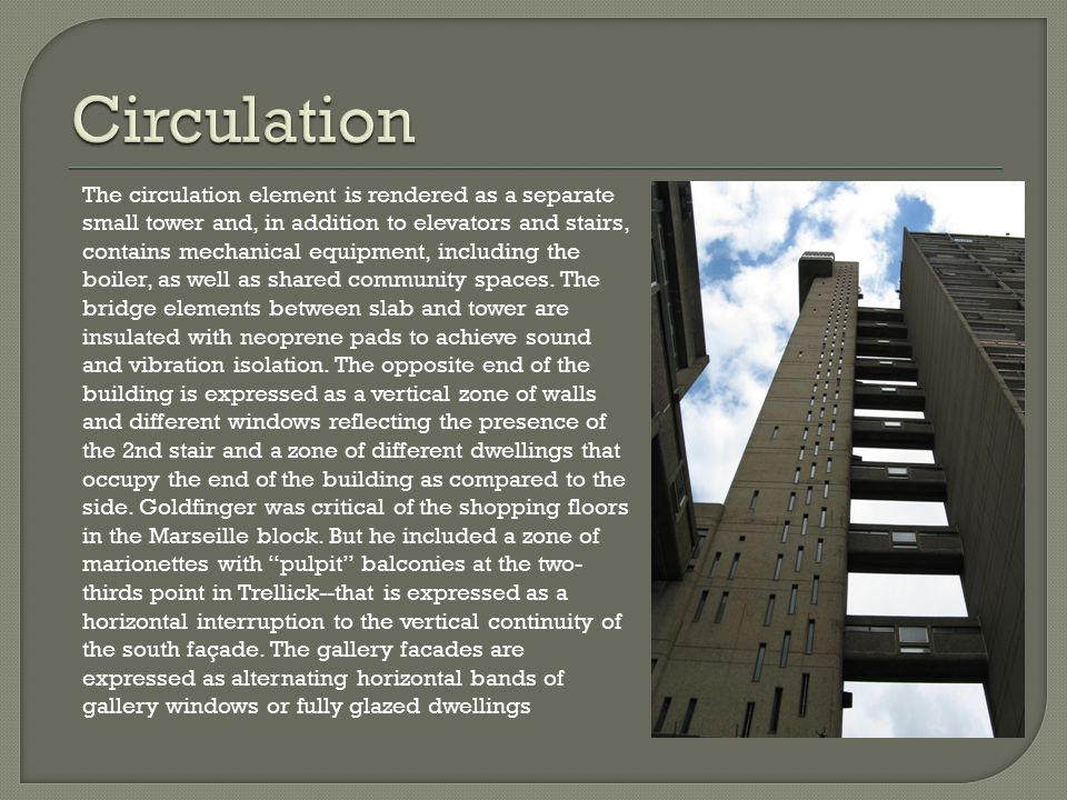 The circulation element is rendered as a separate small tower and, in addition to elevators and stairs, contains mechanical equipment, including the b