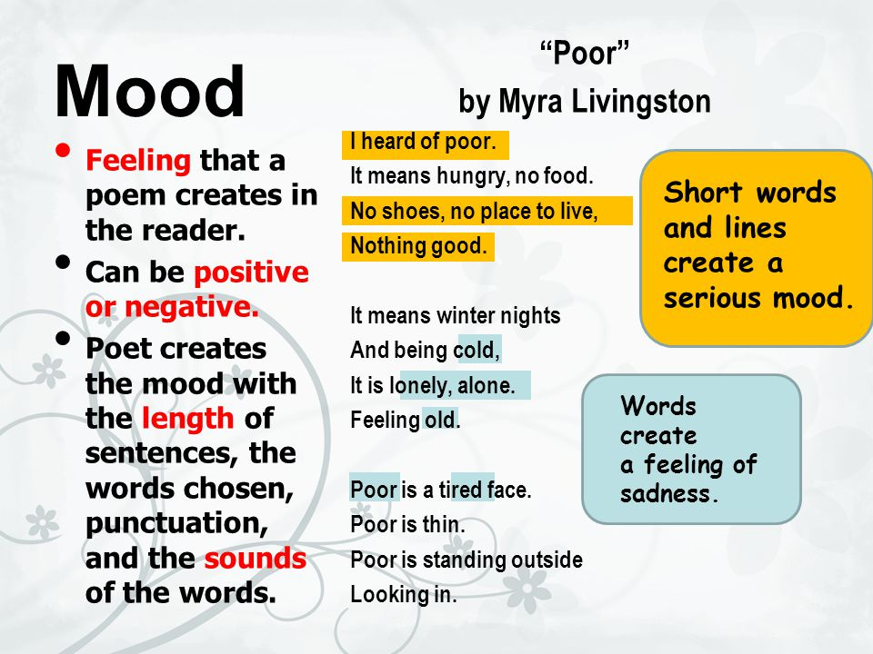 Mood Feeling that a poem creates in the reader.Can be positive or negative.