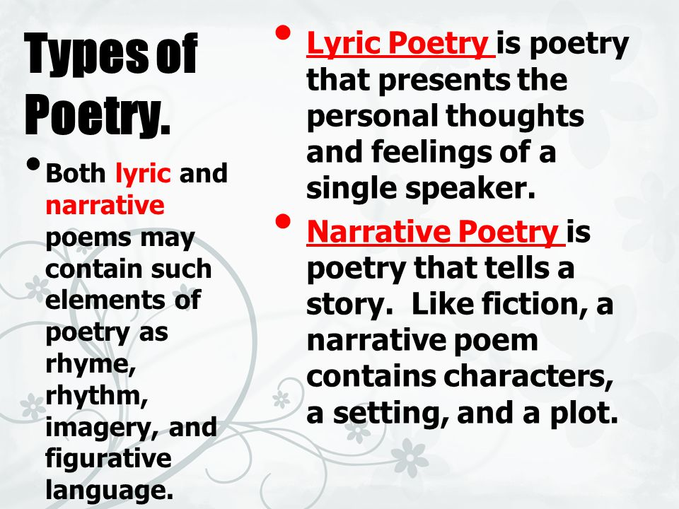 Types of Poetry.