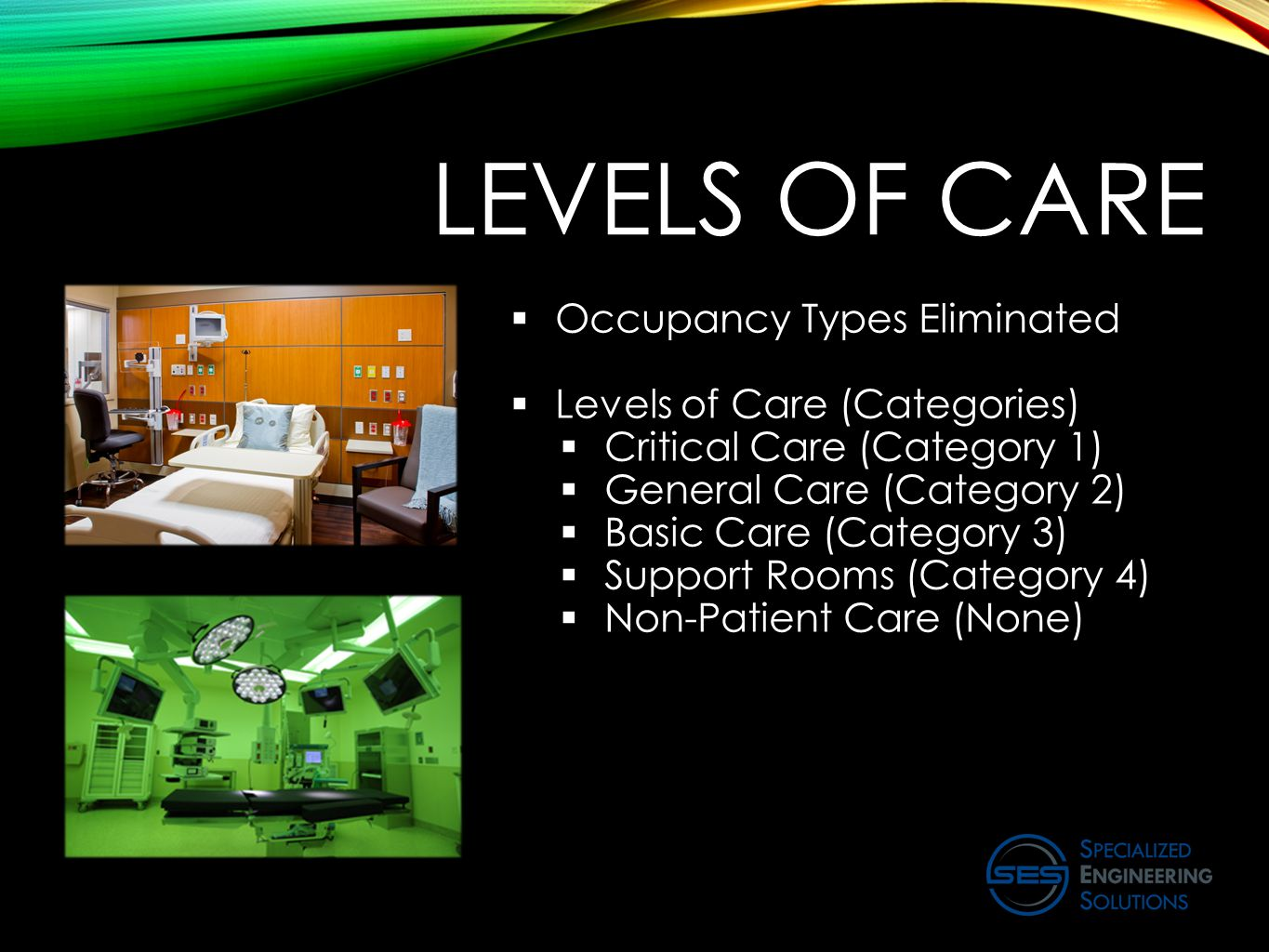 LEVELS OF CARE  Occupancy Types Eliminated  Levels of Care (Categories)  Critical Care (Category 1)  General Care (Category 2)  Basic Care (Category 3)  Support Rooms (Category 4)  Non-Patient Care (None)