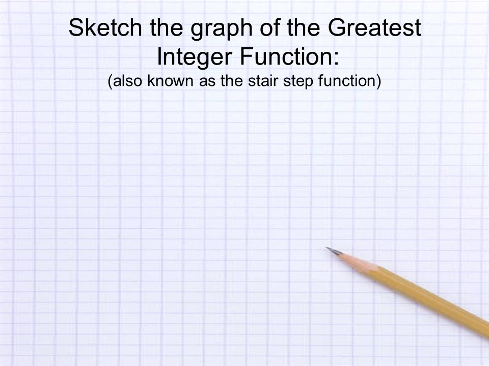 Sketch the graph of the Greatest Integer Function: (also known as the stair step function)
