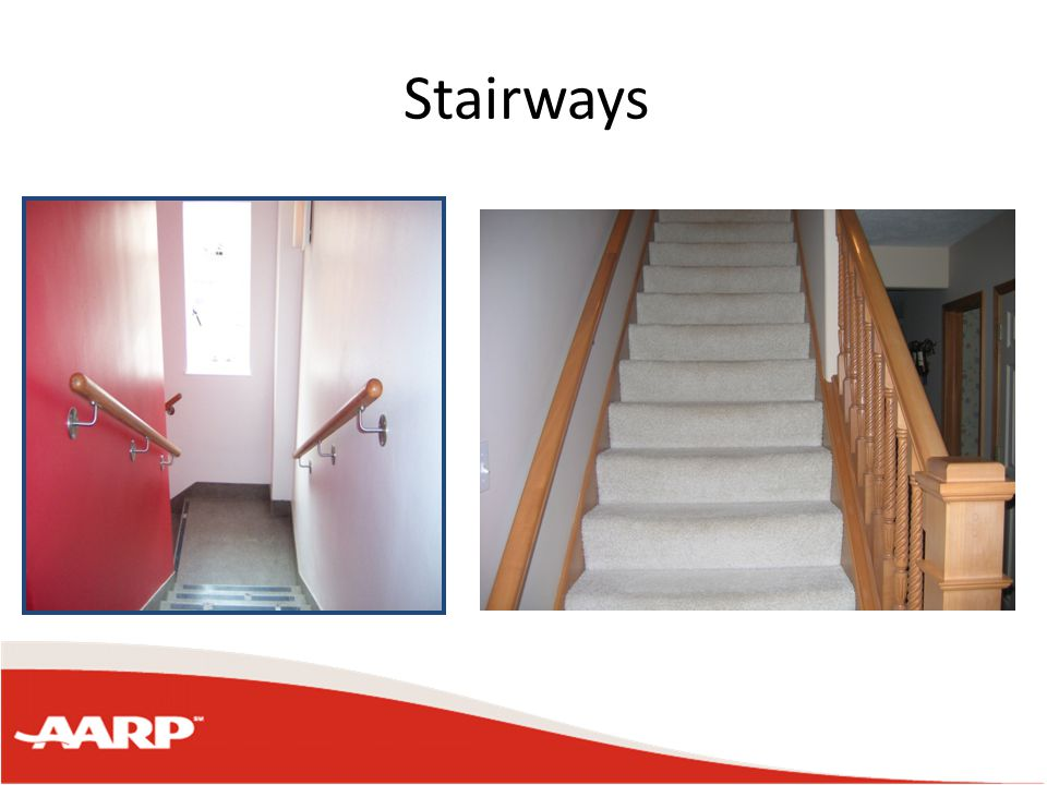 Stairways Handrails on both sides of stairways Is the stairway well lit? Do the stairs have a non-slip surface?