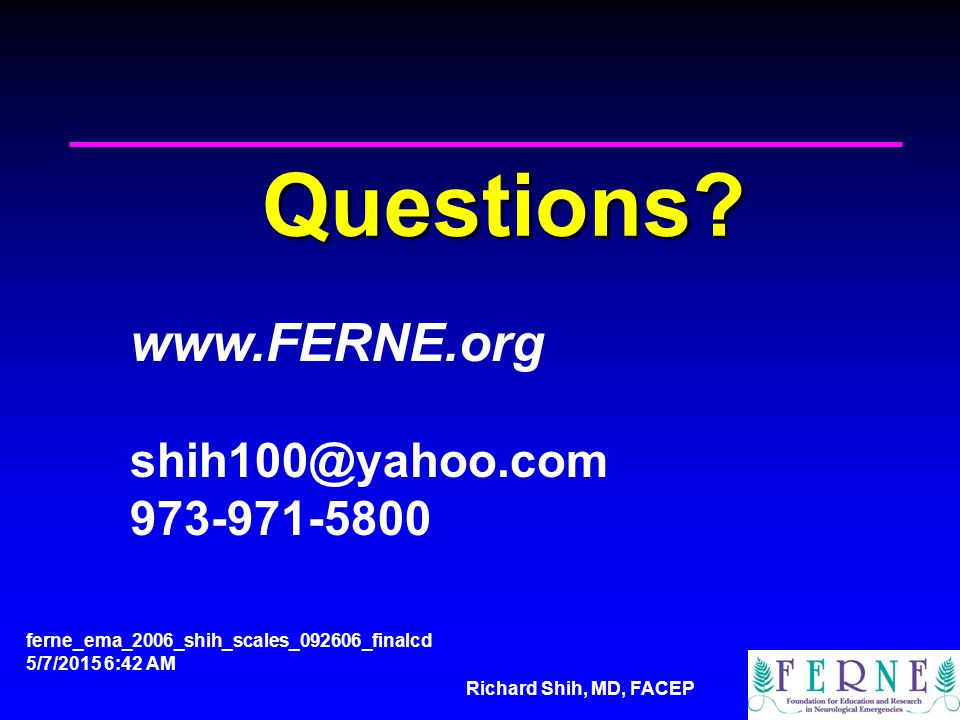 Richard Shih, MD, FACEP Questions.