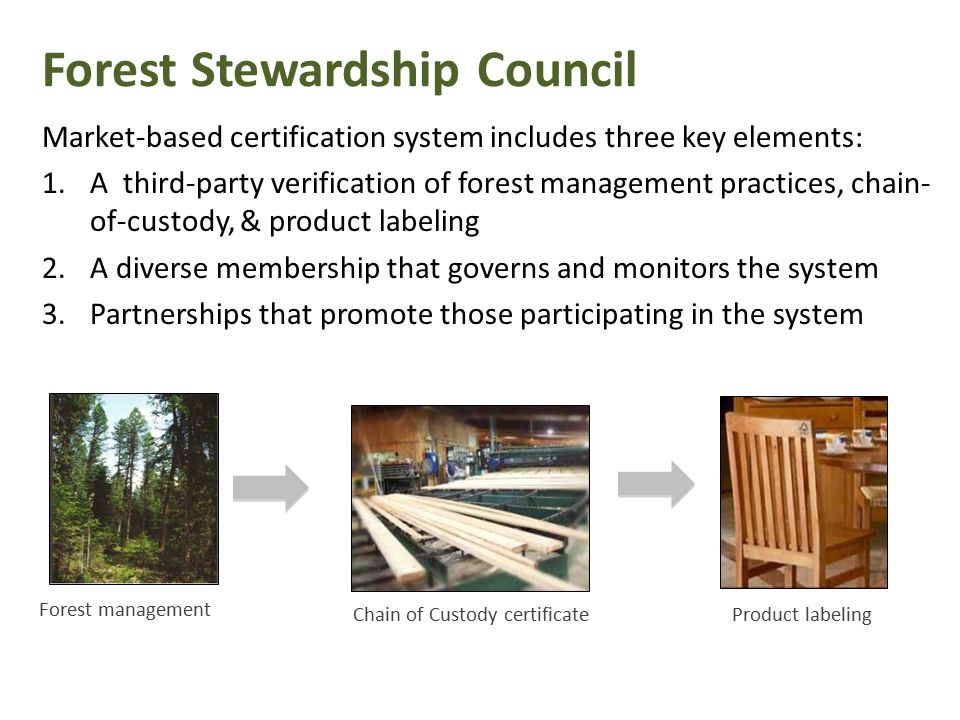 Forest management Chain of Custody certificateProduct labeling Forest Stewardship Council Market-based certification system includes three key elements: 1.A third-party verification of forest management practices, chain- of-custody, & product labeling 2.A diverse membership that governs and monitors the system 3.Partnerships that promote those participating in the system