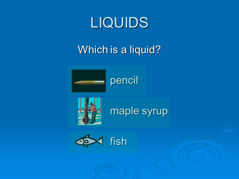 LIQUIDS Which is a liquid pencil maple syrup fish