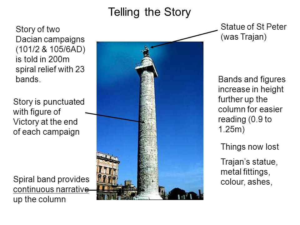 Level 1: Trajan leads two columns across a pontoon bridge, with the god of the Danube watching them.