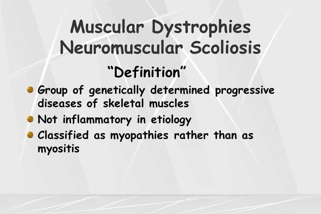 Muscular Dystrophies Neuromuscular Scoliosis Duchenne's Muscular Dystrophy Cardinal Clinical Signs Cardinal Clinical Signs Waddling gait Lordotic posture Abnormal run and inability to hop Difficulty rising from floor Proximal muscle weakness leg>arms Prominence of calves