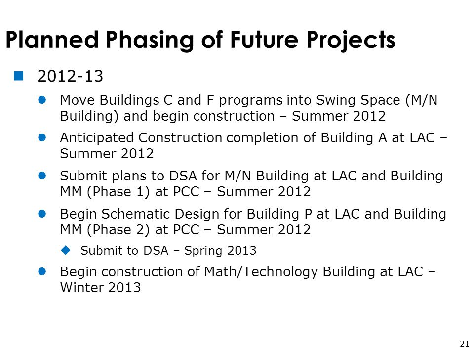 Planned Phasing of Future Projects 21 2012-13 Move Buildings C and F programs into Swing Space (M/N Building) and begin construction – Summer 2012 Anticipated Construction completion of Building A at LAC – Summer 2012 Submit plans to DSA for M/N Building at LAC and Building MM (Phase 1) at PCC – Summer 2012 Begin Schematic Design for Building P at LAC and Building MM (Phase 2) at PCC – Summer 2012  Submit to DSA – Spring 2013 Begin construction of Math/Technology Building at LAC – Winter 2013