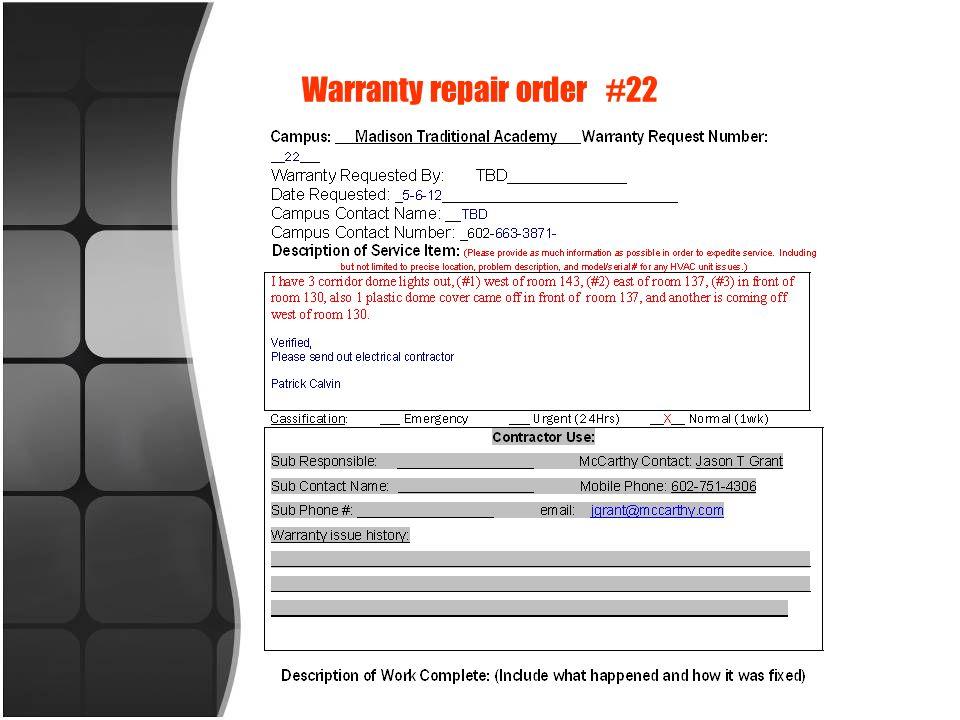 Warranty repair order #22