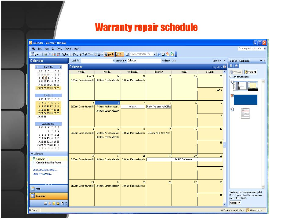 Warranty repair schedule
