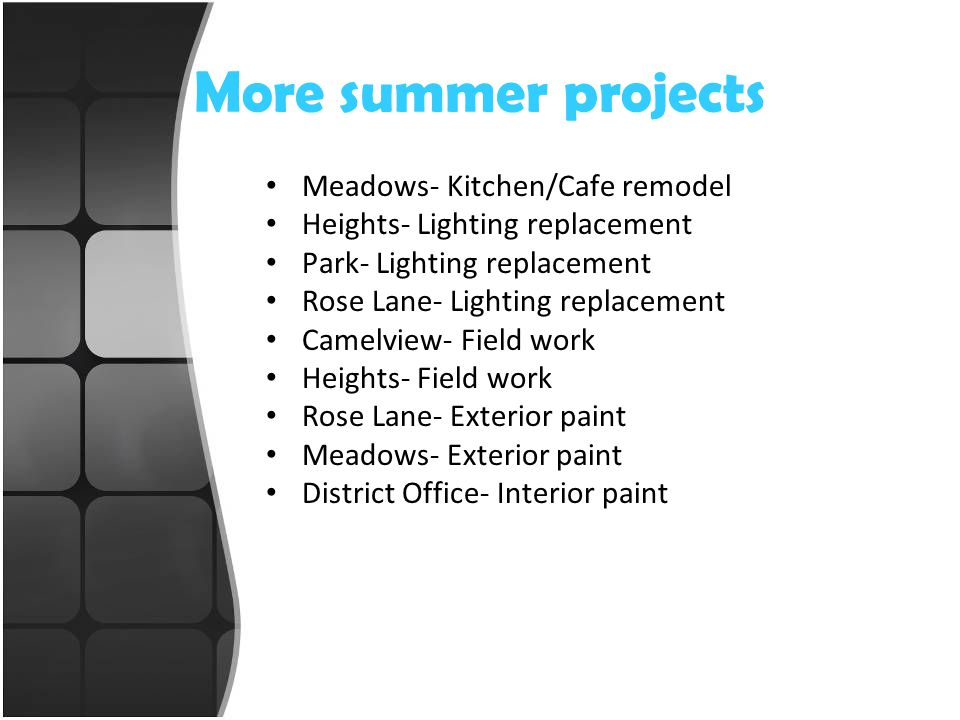 More summer projects Meadows- Kitchen/Cafe remodel Heights- Lighting replacement Park- Lighting replacement Rose Lane- Lighting replacement Camelview- Field work Heights- Field work Rose Lane- Exterior paint Meadows- Exterior paint District Office- Interior paint